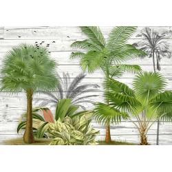 Tapisserie tropicale - Les arbres et les plantes, effet sur mur en bois