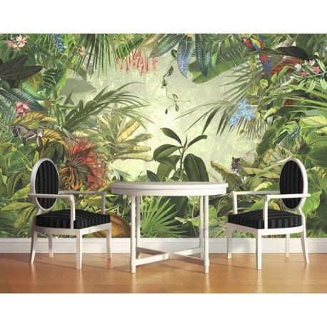 d coration murale tropicale papier peint panoramique jungle tapisserie textile xxl les animaux. Black Bedroom Furniture Sets. Home Design Ideas