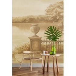 Papier peint d'artiste issu d'un tableau paysage format portrait (vertical) - Balcon au bord du lac, effet sépia