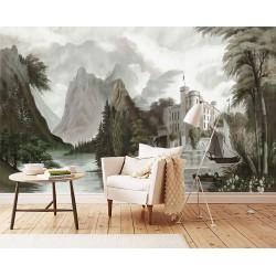Papier peint d'artiste - Château au bord de l'eau, effet grisaille