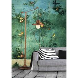 Papier peint d'artiste tapisserie vintage format portrait (vertical) - L'arbre fruitier et les oiseaux