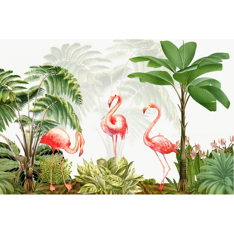 papier peint panoramique sur mesure poster g ant xxl oiseau tropical les flamants roses papier. Black Bedroom Furniture Sets. Home Design Ideas