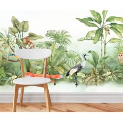 Papier peint tropical - Les oiseaux et les animaux sous le buisson