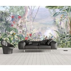 Papier peint tropical paysage dans le brouillard - Les plantes, les fleurs et les oiseaux dans la vallée