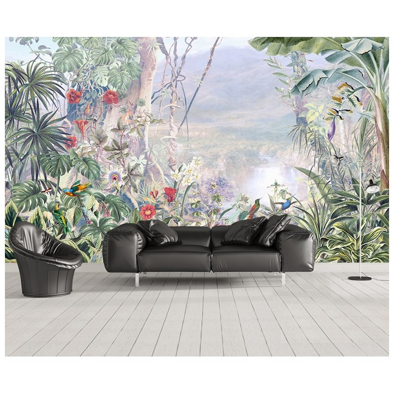 d cor exotique papier peint panoramique plantes tropicales tapisserie murale xxl les plantes et. Black Bedroom Furniture Sets. Home Design Ideas