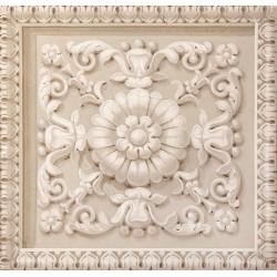Décor plafond imitation motif sur plâtre marron clair, effet bas relief