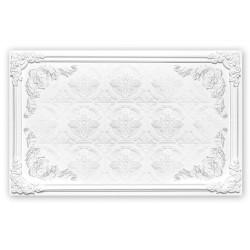 Décor plafond imitation motif sur plâtre blanc, effet bas relief