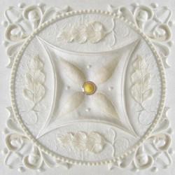 Décor plafond imitation motif sur plâtre ivoire, effet bas relief