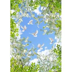 Décor plafond paysage romantique - Les fleurs de poirier et les oiseaux dans le ciel bleu