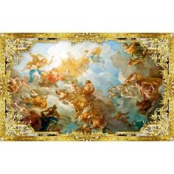 Décor plafond style ancien - Papier peint fresque ou plafond tendu lumineux, motif avec cadre doré