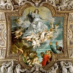Décor plafond style ancien - Plafond tendu lumineux ou papier peint fresque - Motif avec cadre sculpté
