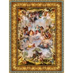 Décor plafond style ancien - Plafond tendu lumineux ou papier peint fresque, motif avec cadre à enluminures