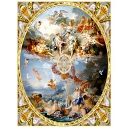 Décor plafond style ancien - Plafond tendu lumineux ou papier peint fresque, motif en format ovale avec cadre sculpté