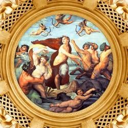 Décor plafond style ancien - Papier peint fresque ou plafond tendu lumineux, motif en forme rounde avec cadre doré