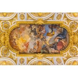 Décor plafond style ancien - Fresque en forme ovale avec cadre ornementé doré