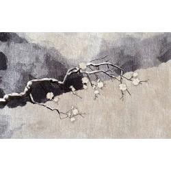 Tapis sol asiatique zen - Les fleurs d'abricotier japonais sur fond beige et gris