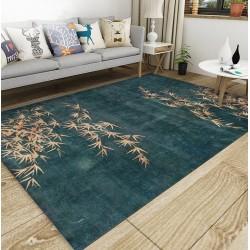 Tapis sol asiatique zen - Les bambous et les fleurs de mei sur fond vert foncé