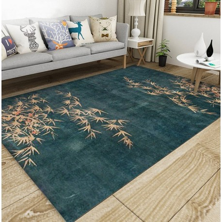 tapis sol pure laine nou la main style asiatique ambiance zen les bambous et les fleurs d. Black Bedroom Furniture Sets. Home Design Ideas