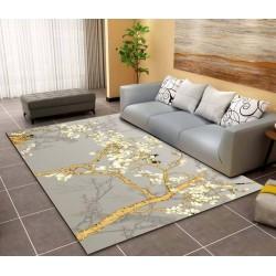 Tapis sol asiatique zen - Les magnolias et les oiseaux sur fond gris