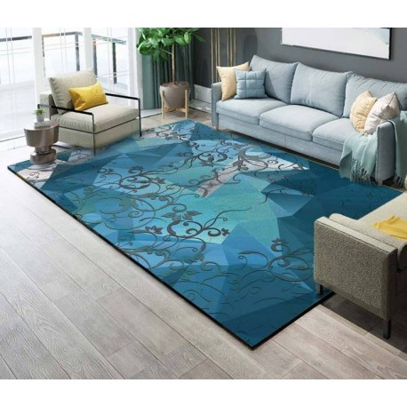 d coration d 39 int rieur tapis sol moderne en pure laine nou la main motif abstrait fond bleu. Black Bedroom Furniture Sets. Home Design Ideas