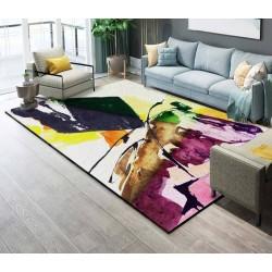 Tapis sol art moderne motif abstrait multicolore : rose, jaune, vert, marron, bleu pétrole