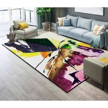tapis sol multi couleur en pure laine nou la main motif issu d 39 une cr ation d 39 art moderne. Black Bedroom Furniture Sets. Home Design Ideas