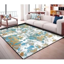Tapis sol art moderne motif abstrait tricolore : bleu, blanc, doré
