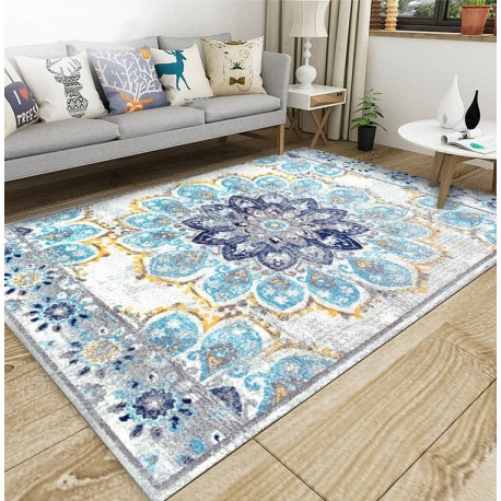 tapis artisanal traditionnel en pure laine nou la main motif tricolore fleur bleu fond gris. Black Bedroom Furniture Sets. Home Design Ideas