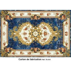 Tapis sol motif traditionnel - Les fleurs et les traits dorés sur fond bleu marine