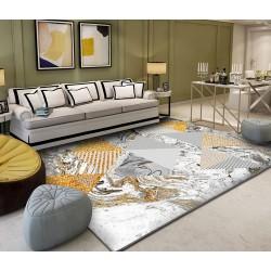 Tapis sol art moderne motif abstrait - Les triangles gris et dorés