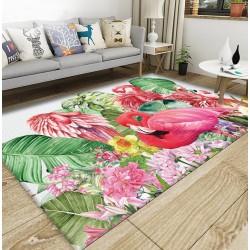 Tapis sol tropical art moderne - Flamant rose, fleurs et feuilles de bananier