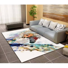 Tapis sol multicolore art contemporain - Zèbre en couleur