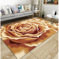 Tapis sol floral art moderne - Rose jaune