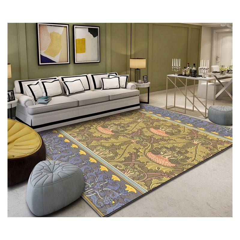 d coration d 39 int rieur tapis laine l gant tuft la main les fleurs sauvages sur fond jaune et. Black Bedroom Furniture Sets. Home Design Ideas