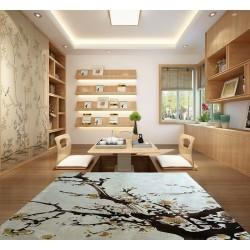 Tapis sol asiatique zen - Les fleurs de mei sur fond beige