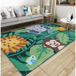 Tapis sol pour enfant - Les animaux dans la forêt, éléphant, lion, singe, girafe