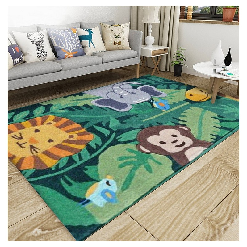 tapis laine fait main chambre d 39 enfant animaux de la for t papier peint sol 3d. Black Bedroom Furniture Sets. Home Design Ideas