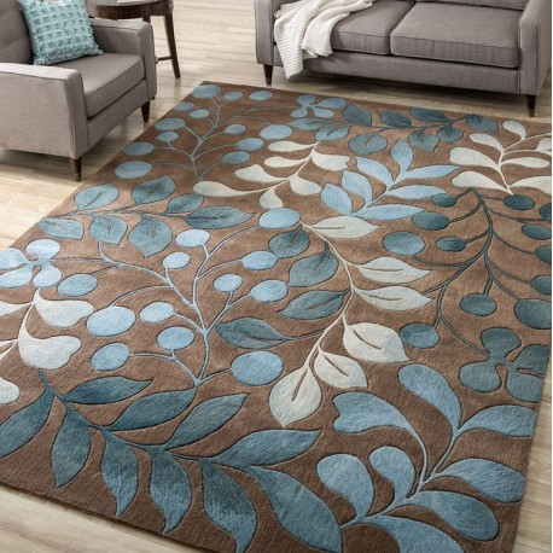 tapis laine artisanal hôtel bureau boutique chambre à coucher motif feuille  bleu sur fond marron - Atelier WYBO