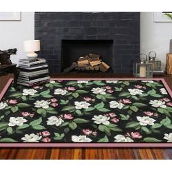 Tapis sol floral - Les camélias blanches et roses sur fond noir, bord rose poudré