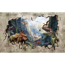 Papier peint trompe l'oeil 3D trou dans le mur - Les dinosaures dans la falaise