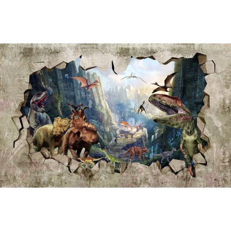 mur 3d papier peint photo trompe l 39 oeil trou dans le mur tapisserie panoramique dinosaure. Black Bedroom Furniture Sets. Home Design Ideas