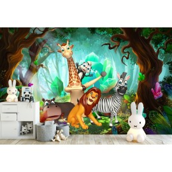 décoration murale panoramique chambre d'enfant - Les animaux dans le forêt