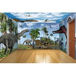 Décor grand panoramique spécial dinosaure - A l'époque de Jurassic et Crétacé