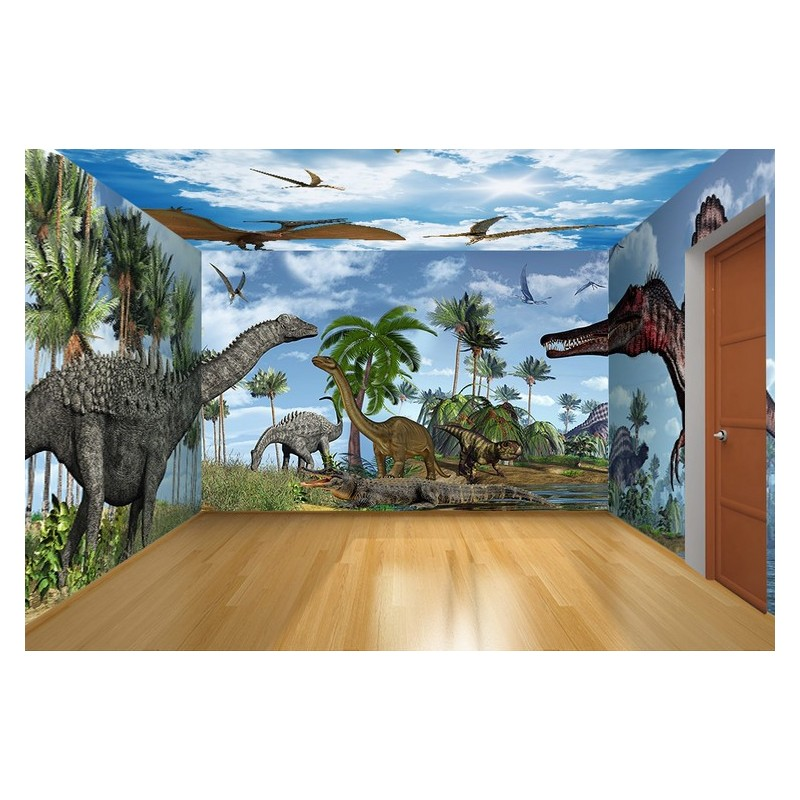 d coration murale personnalis papier peint photo panoramique xxl dinosaure papier peint sol 3d. Black Bedroom Furniture Sets. Home Design Ideas