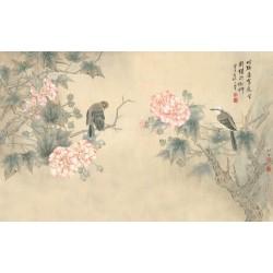 Peinture chinoise zen fleurs et oiseaux - Hibiscus roses et oiseaux