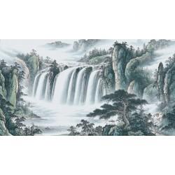 Peinture à l'encre zen paysage asiatique - Grande chute d'eau dans la montagne