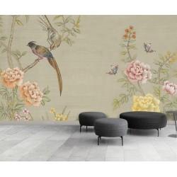 Peinture asiatique zen décor floral - Les pivoines roses et jaunes, les oiseaux et les papillons