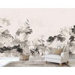 Panneau japonais zen peinture à l'encre en noir, blanc, gris et rose, couleur légère - Les lotus
