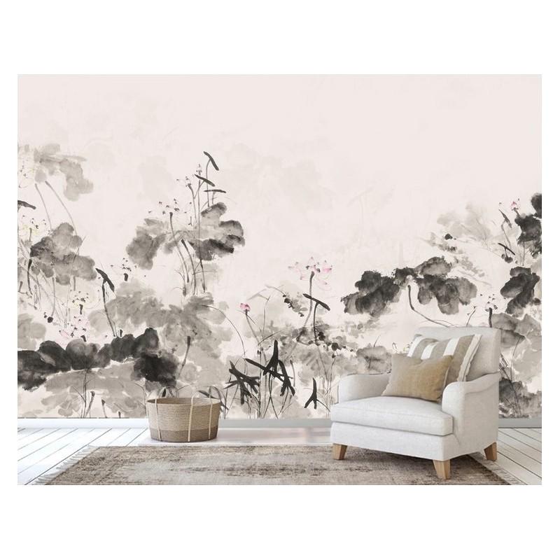 Peinture Japonaise Zen Papier Peint Panoramique En Noir Et Blanc