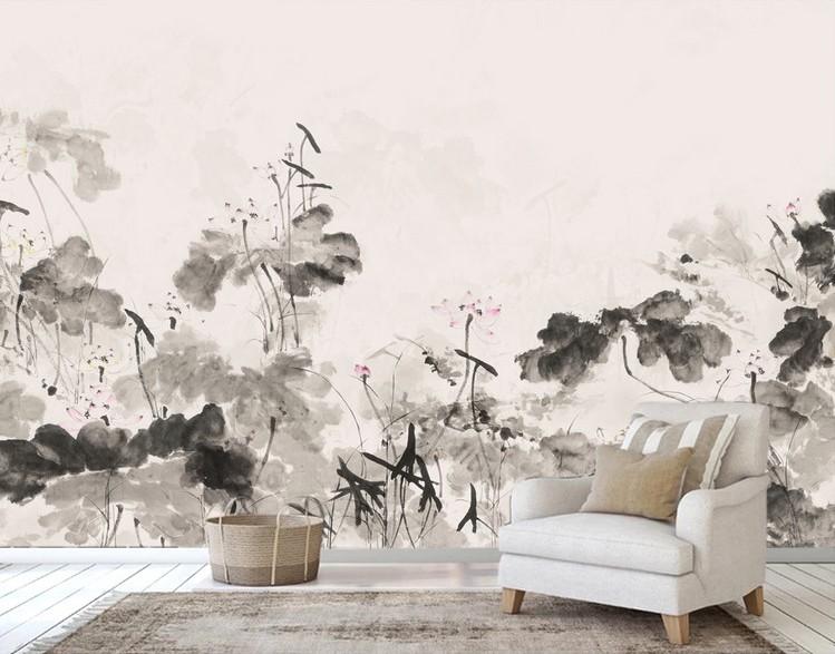 Peinture Japonaise Panoramique Zen Noir Et Blanc Fleur Rose Atelier Wybo